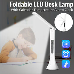 LED Desk Lamp Light Foldable Dimmable Touch Table Clock Calendar Temperature Set