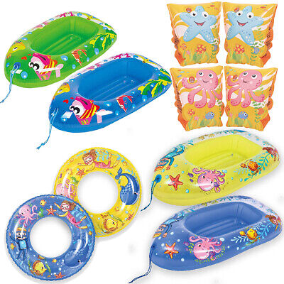 Kids Sea Life Inflatable Swim Boats Armbands Ring Summer Garden Pool Beach
