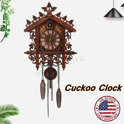 US Vintage Wood Cuckoo Clock Forest House Swing Wall Alarm H