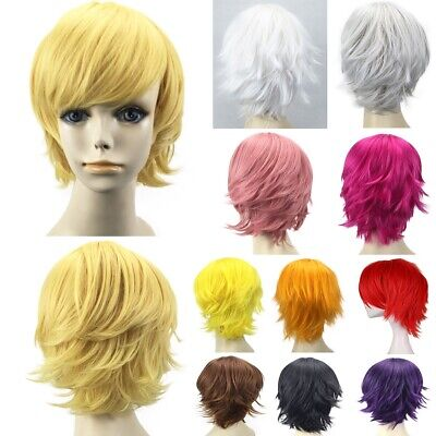 Male Anime Costume (Men Male Short Full Wigs Boys Anime Cosplay Costume Party Synthetic Hair +)