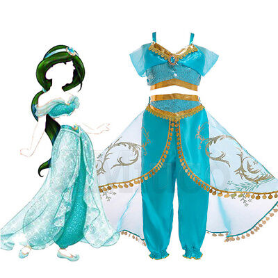 Womens For Princess Jasmine Dresses Aladdin Kids Girls Costume Cosplay Outfit