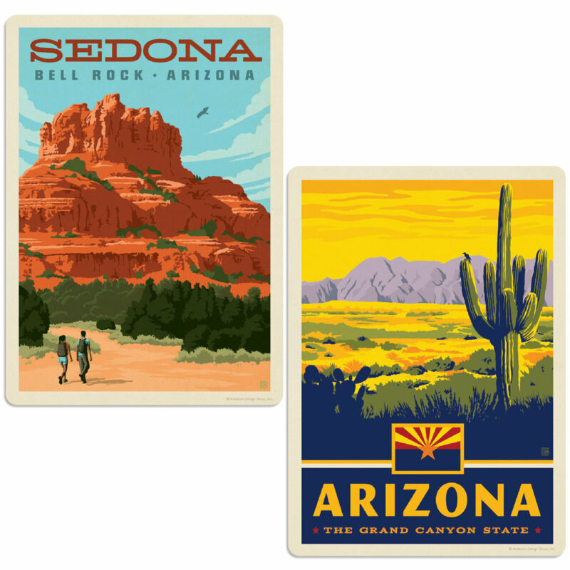 Arizona Bell Rock Sedona Sticker Set of 2 Vintage-Style Decals