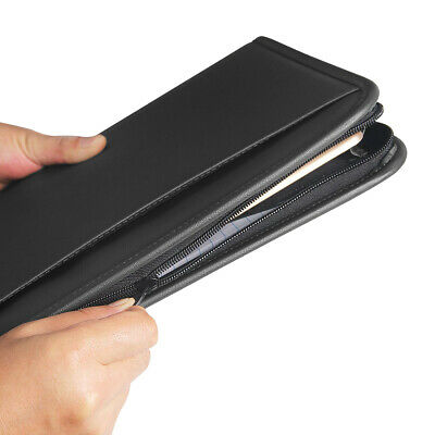 A4 Padfolio Leather Organizer Pad Zippered Portfolio Holder Letter Zipper Case