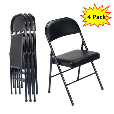 Black Metal Frame Pvc Cushion Padded Folding Chairs Meeting Room - Set Of 4