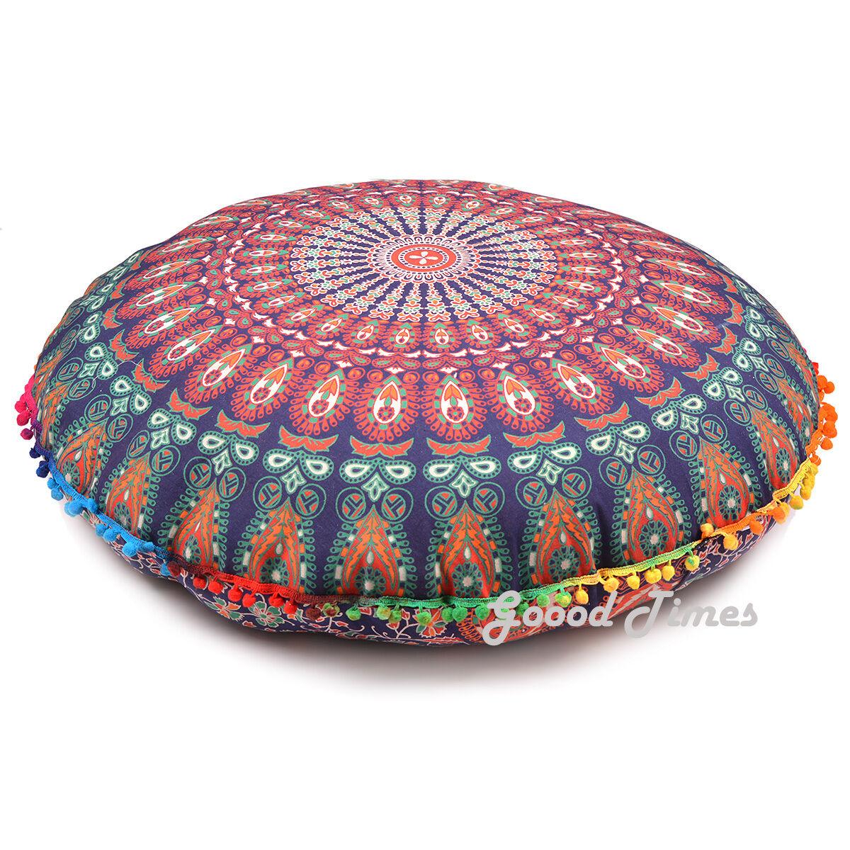 Floor  Large Pouf Cushion Cover Bohemian Indian Mandala Thro