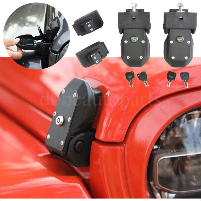 Locking Hood Lock Latch Hood Catch W/Key for 2018-2022 Jeep Wrangler JL JT