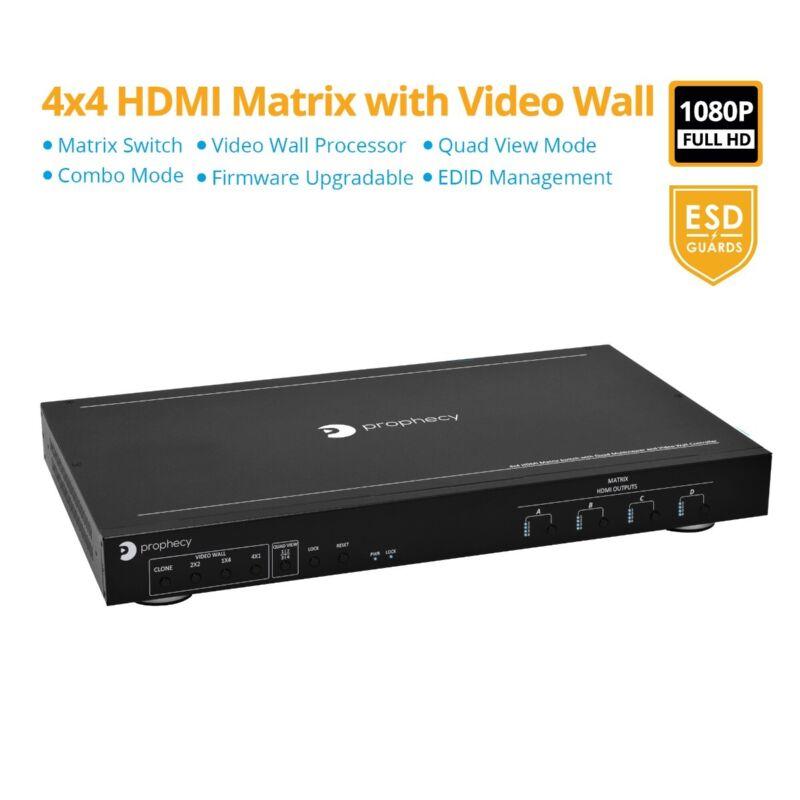 gofanco Prophecy 1080p 4x4 HDMI Matrix Switcher & 2x2 Video Wall Processor