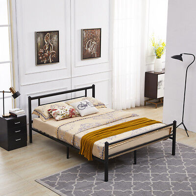 Mcombo Metal Bed Frame with Headboard and Footboard ,Twin Full (Black Full Sleigh Bed)
