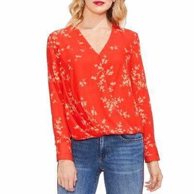VINCE CAMUTO Women's Mandarin Red Floral Print Faux-wrap Blouse Shirt Top S TEDO Floral Print Wrap Top