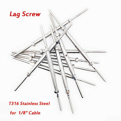 20pcs T316 Turnbuckle Hand Swage Tensioner Lag Screw Set For 18 Cable Railing