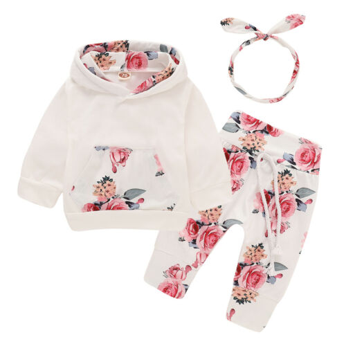 Toddler Newborn Baby Girl Clothes Tracksuit Floral Hooded Tops Pants Outfits Set