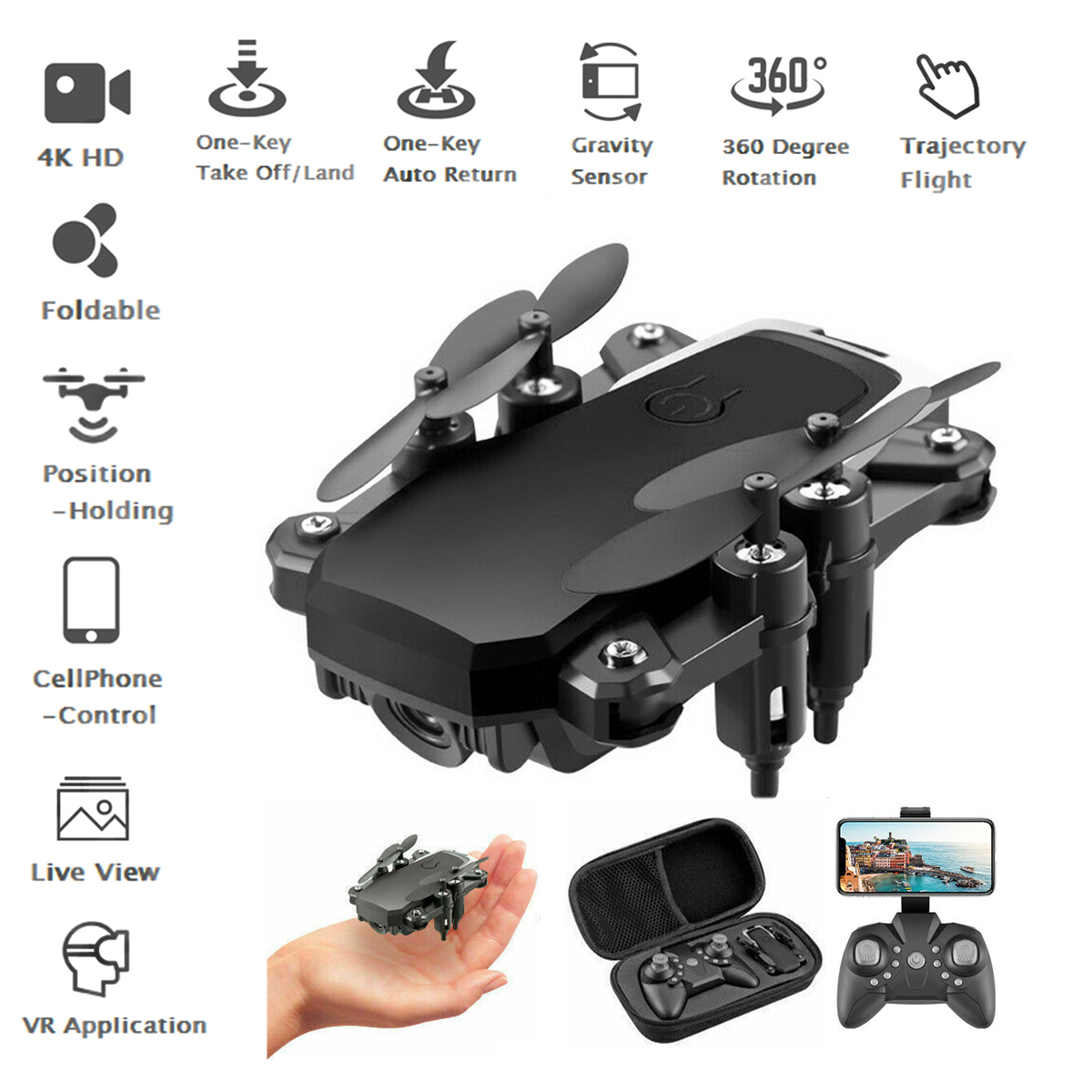 Foldable RC Drone Quadcopter With HD 4K Camera WIFI FPV Quadcopter Altitude Hold