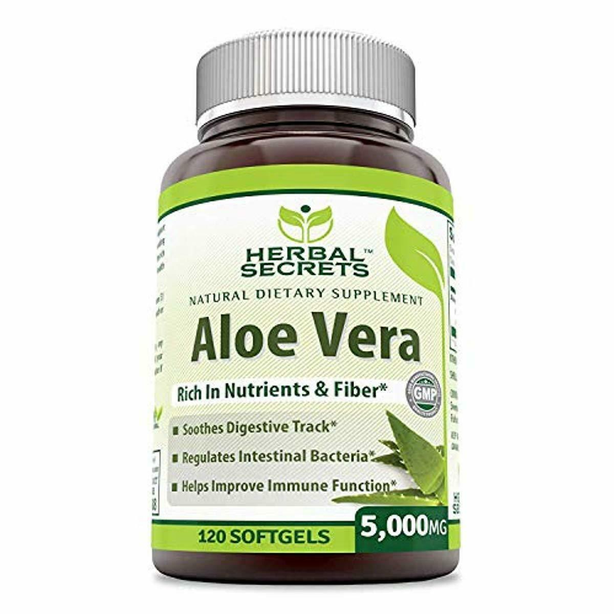 Herbal Secrets Aloe Vera Natural Dietary Supplements, 120 So
