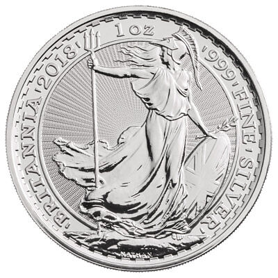 2018 Great Britain 1 Oz Silver Britannia  2 Coin Gem Bu Sku49809