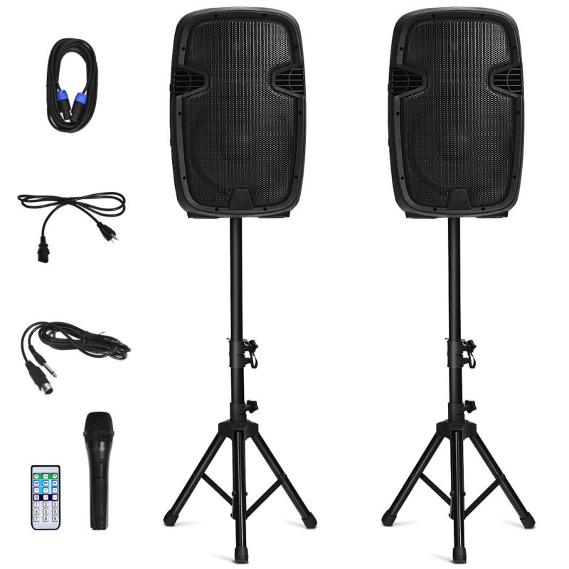 "Dual 12"" 2-way 1600W Powered Speakers w/ Bluetooth Mic Speaker Stands Control"