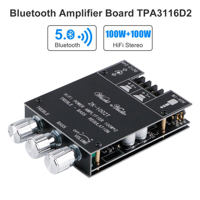 TPA3116D2 Audio Power Amplifier Board Bass Treble Control Bluetooth 5.0 100W*2