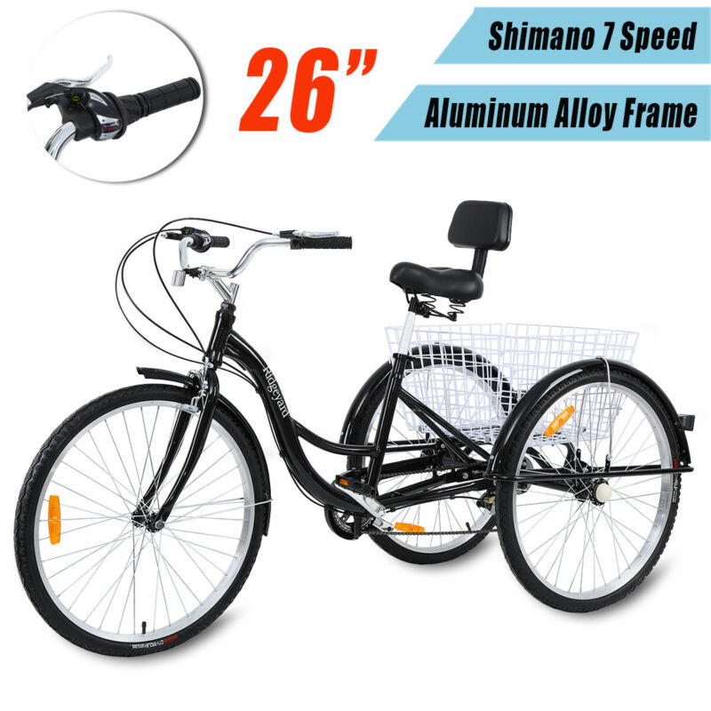 26'' 3 Wheel Adult Tricycle Bicycle Cruise 7Speed Aluminum A