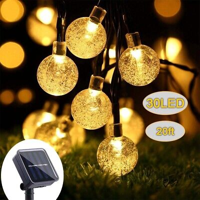 Solar Powered 30 LED String Lights Crystal Ball Outdoor Waterproof Garden Decor