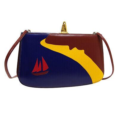 HERMES Sac A Malice Yacht Motif Shoulder Bag ◯S X D Blue Brown Box Calf AK31434d