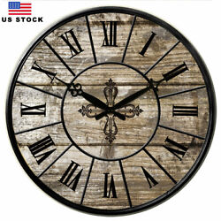 Large Wooden Wall Clocks 15 in Room Home Silent Decor Retro Clock Antique Gray