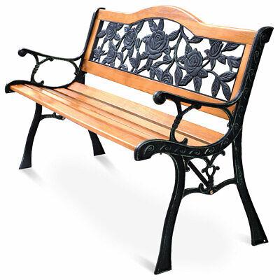 Garden Furniture - GOPLUS Patio Park Garden Bench Porch Path Chair Furniture Cast Iron Hardwood New