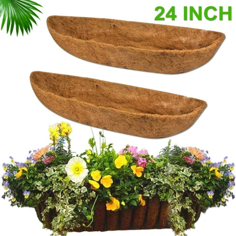 2Pcs 24 inch Replacement Hanging Baskets Coco Trough Liner F/ Window Box Planter