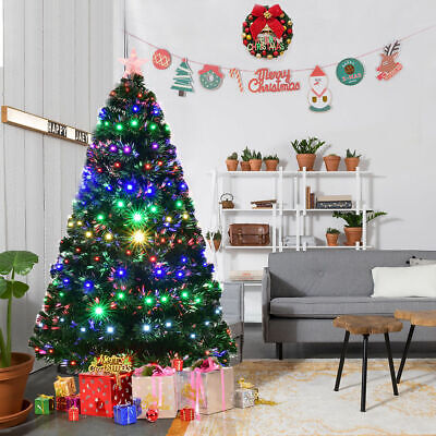6' Pre-Lit Fiber Optic Artificial Christmas Tree w/Multicolor LED Lights & Stand