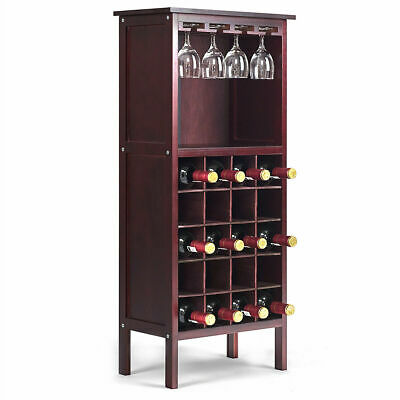 Wine Storage Cabinet Wood Bottle Holder Kitchen Home Bar w/ Glass Rack NEW
