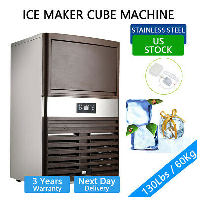 130lbs Built-in Commercial Ice Maker Cube Machine Undercounter Freestand Us Ship