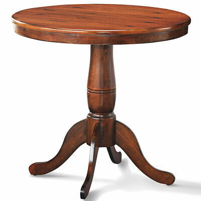 "32"" Round Pedestal Dining Table Kitchen Dining Room Walnut"