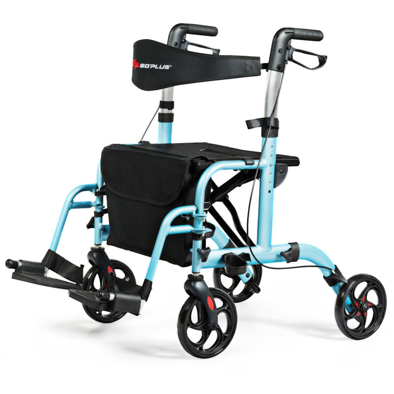 2 in 1 Ergonomic Foldable Medical Rollator Aluminum Transport Chair Blue