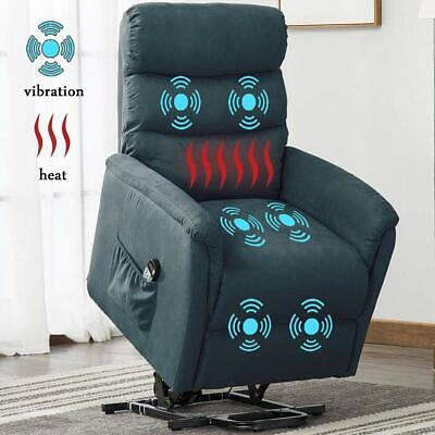 Power Lift  Recliner Vibration Massage Heated Chair High Back Sofa Padded Seat High Back Recliner