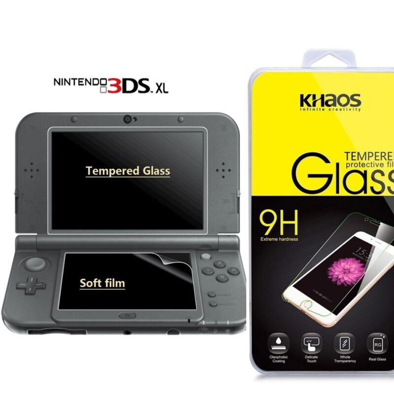 KS New Nintendo 3DS XL Tempered Glass LCD Screen Protector & Clear Crystal PET