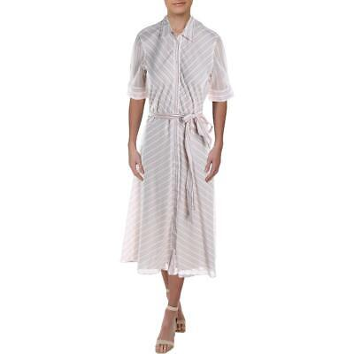 Lauren Ralph Lauren Womens Trymaine Pink Cotton Striped Shirtdress 8 BHFO 2817