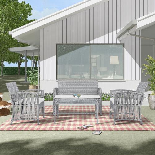Garden Furniture - 4 Pieces Outdoor Furniture Rattan Chair &Table Patio Set Outdoor Sofa for Garden