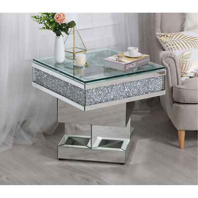MIRRORED MODERN LIVING DINING ROOM FOYER OFFICE DECO CRYSTAL ACCENT END TABLE ()