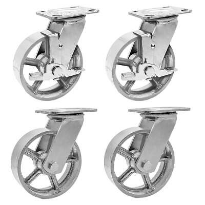 4 Pack Combo 5 Vintage Caster Wheels Grey Iron Casters 2 Plate 2 Wbrake