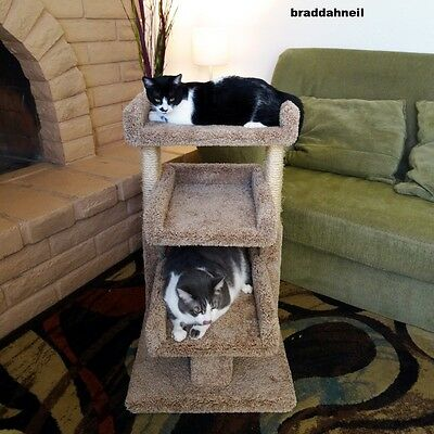 Cat Tree House Pet Bed Perch Furniture Condo Scratch Post Beige Play Sleep Hide