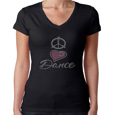 Womens T-Shirt Rhinestone Bling Black Fitted Tee Peace Love Dance Pink Heart