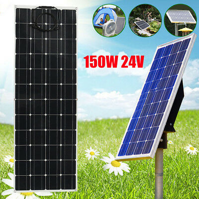 150W 24V Semi-flexible A-Class Solar Panel Off Grid Battery W/ Cable For RV Boat