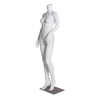 Headless Female Mannequin Plastic Realistic Display Dress Form Full Wbase White