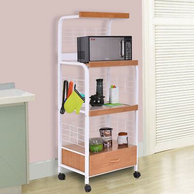 "62"" Bakers Rack Microwave Stand Rolling Kitchen Storage Cart w/Electric Outlet"