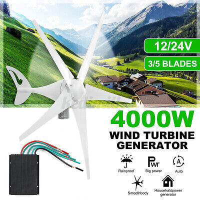 3/5 Blade 4000W 12V/24V Wind Turbines Generator W/ Charge Controller Home Power