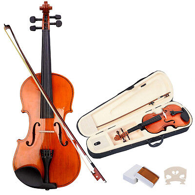 New 4/4 Full Size Natural Acoustic Violin Fiddle with Case Bow on Rummage