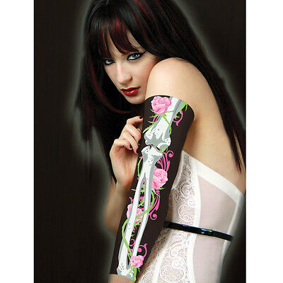 Scary Mary Tattoo Sleeves with Bones and Pink Roses - Roses Tattoo Sleeves