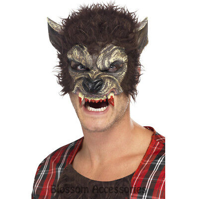 A945 Werewolf Half Mask Wolf With Ears Teeth Scary Halloween Costume - Halloween Wolf Teeth