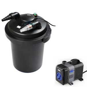 3500 gal pressure pond filter w 18w uv sterilizer koi fish for Koi pond pump and filter