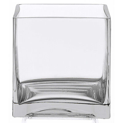 """Clear Square Glass Vase Cube - 6 Inch - 6"""" x 6"""" x 6"""" Centerpiece - Candle Holder"""