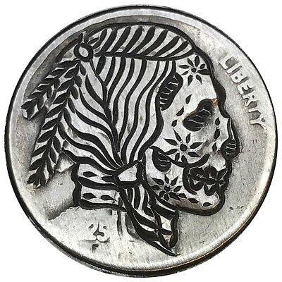 Hobo Nickel Coin Art Buffalo Indian Sugar Skull Zombie Stars Engraved Carved 04