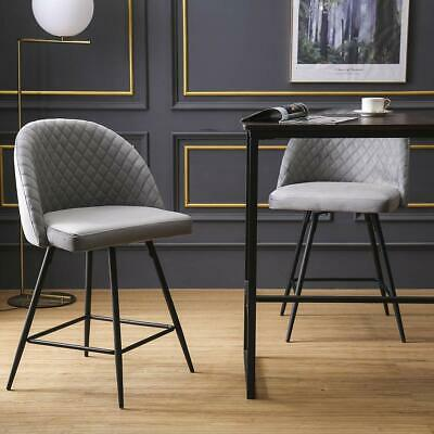 Set of 2 Upholstered Swivel Barstools Counter Height Bar Stools Dinning -